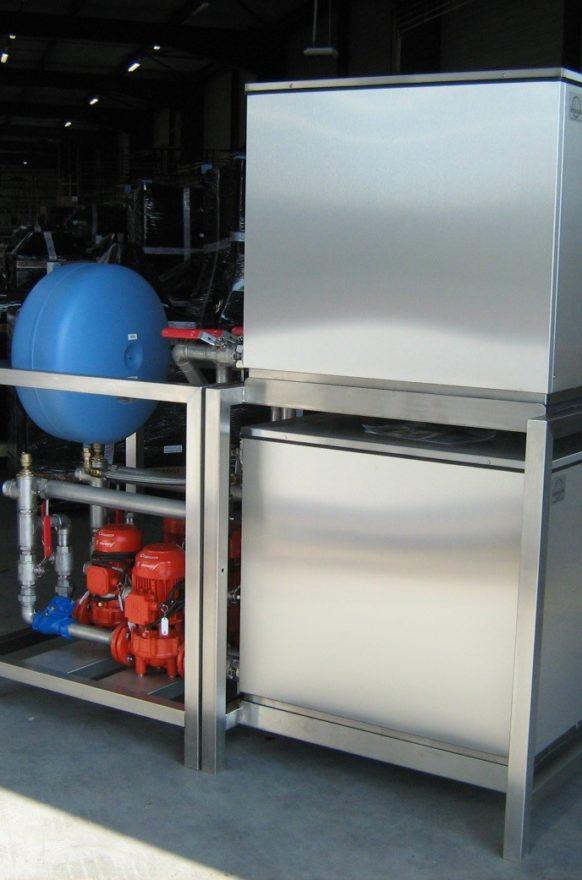 Wärmepumpe im Skid-Format und Trägergestell für Umlaufpumpen